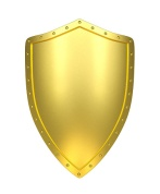 Golden shield with clipping path , 3d render
