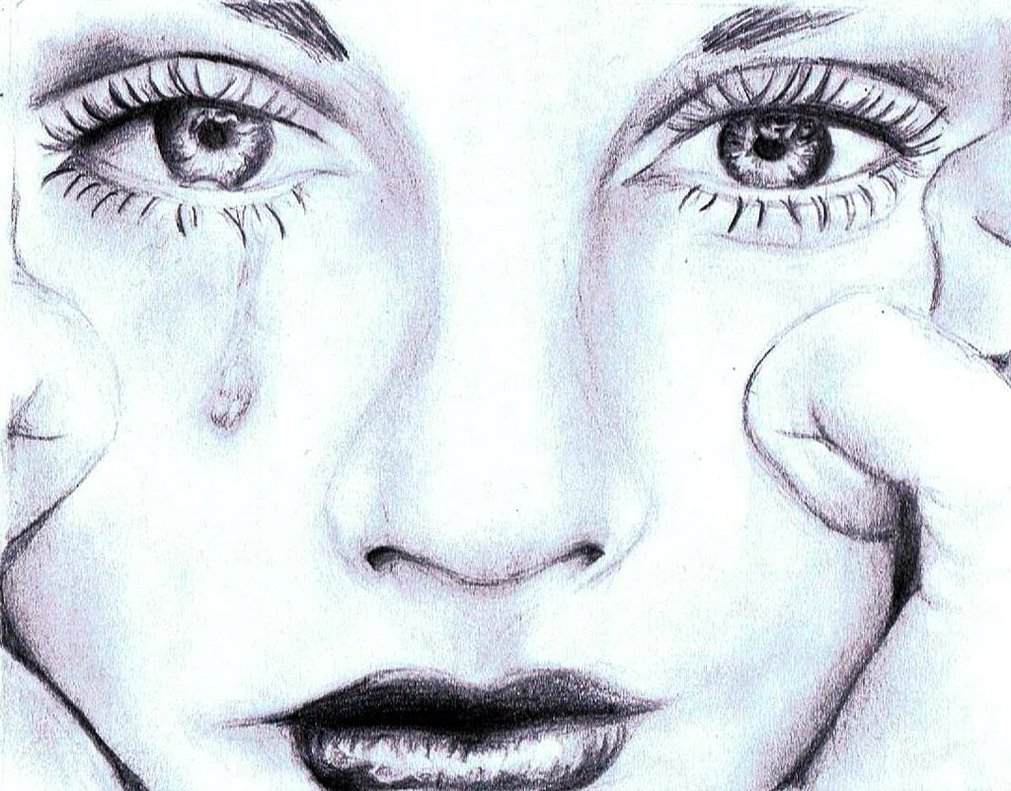 Crying Face Pencil Drawings Crying Face Pencil Drawings Simple Pencil Sketches Of Face - Drawing