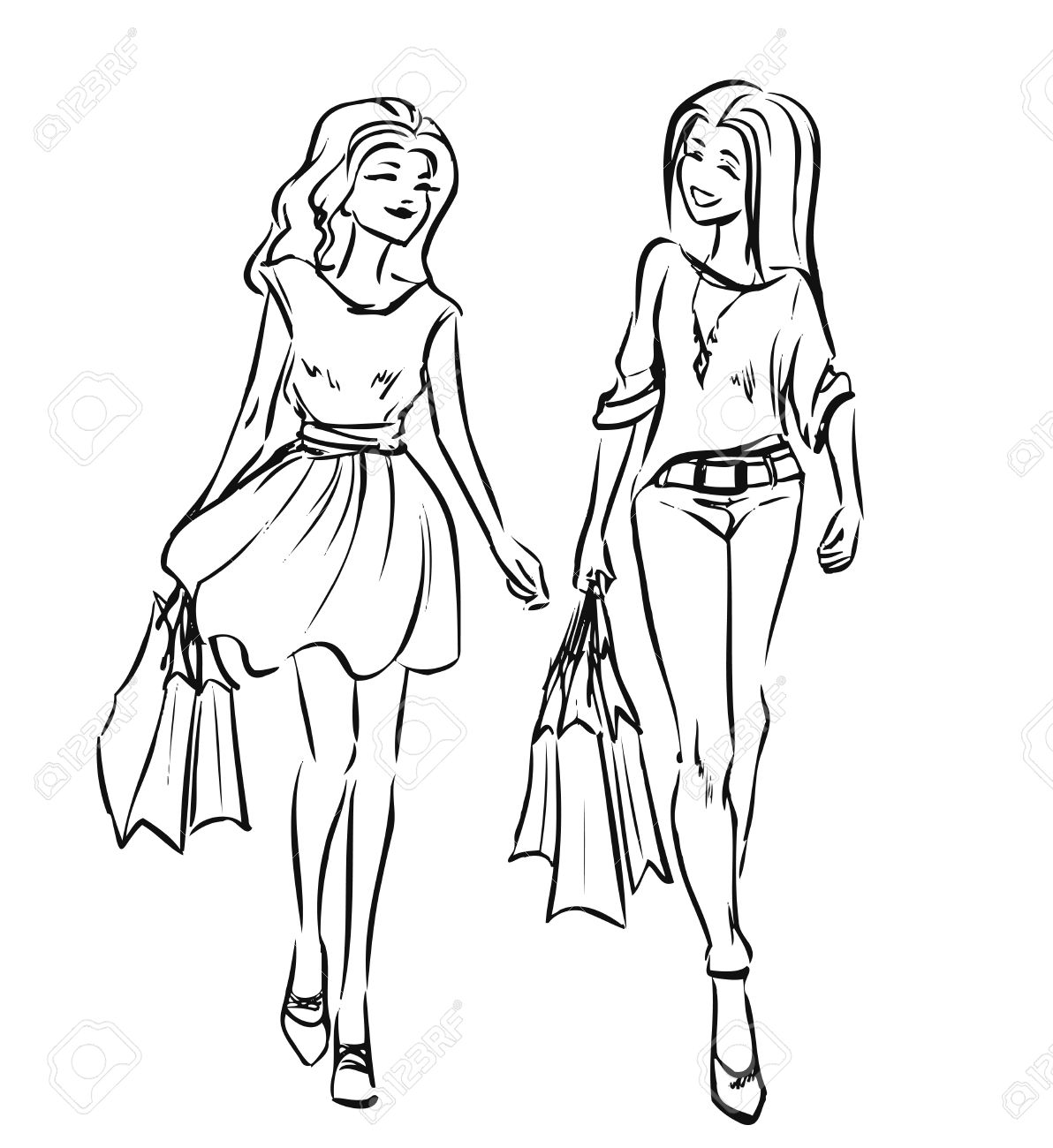 Two friend girls with shopping bags