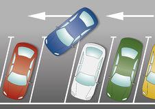 blue-car-parking-to-park-empty-space-65543174